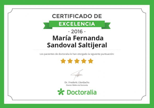 certificado de excelencia. doctoralia